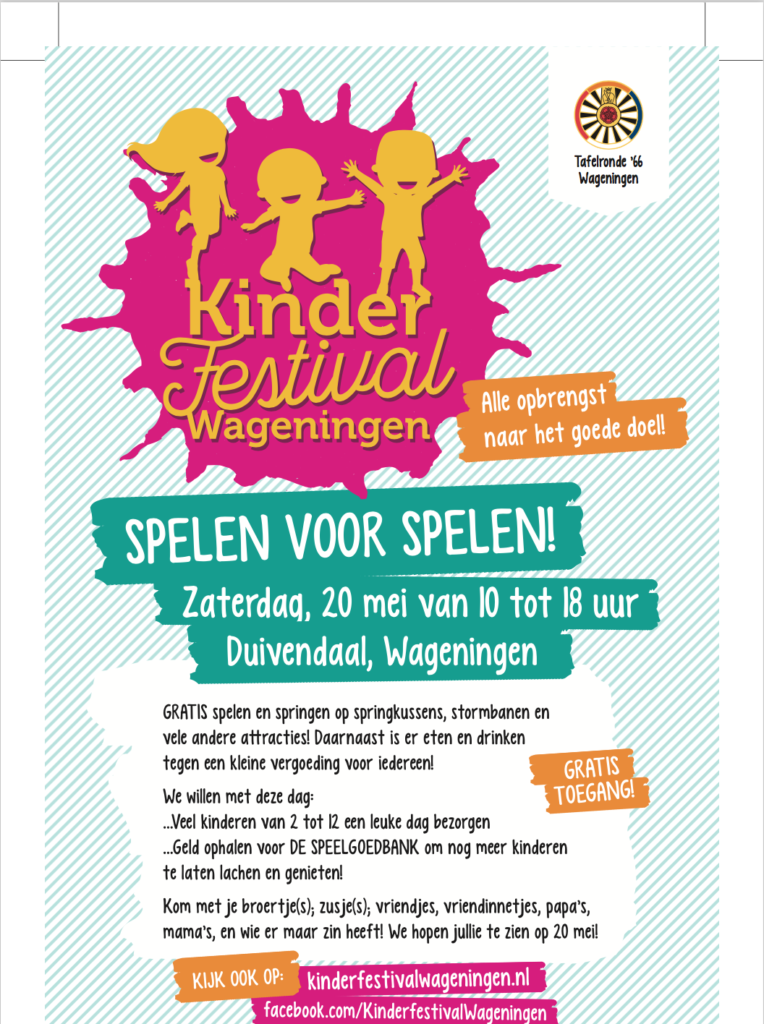 Screenshot van de Kinderfestival Wageningen 2017 flyer.